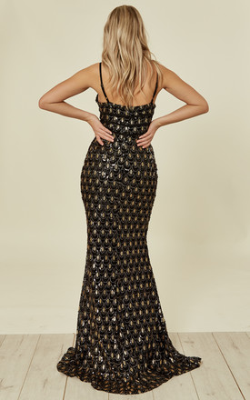 MONROE BLACK GOLD ALLURING SEQUIN MERMAID MAXI DRESS by Nazz Collection