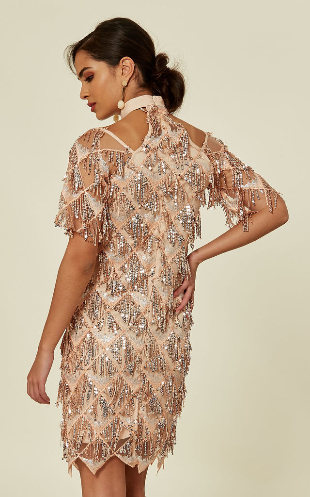 TREASURE ROSE GOLD SEQUIN TASSEL FRINGE COLD SHOULDER MIDI PENCIL DRESS by Nazz Collection