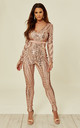 TEASE ME VIP ROSE GOLD NUDE PLUNGE ILLUSION SEQUIN EMBELLISHED JUMPSUIT by Nazz Collection