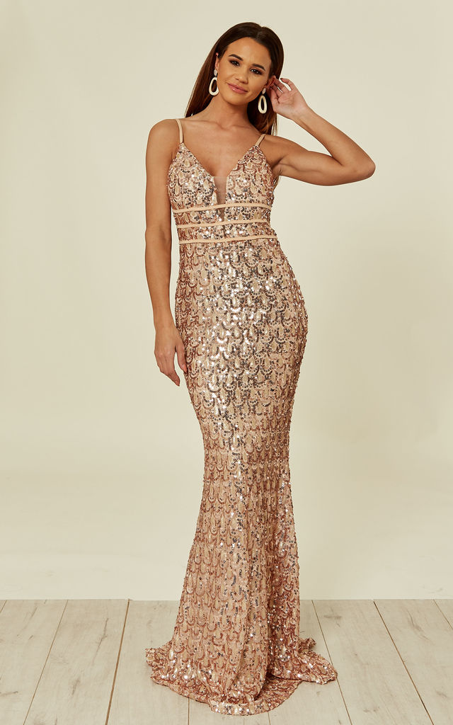 2849997a Monroe Rose Gold Nude Alluring Sequin Mermaid Maxi Dress | Nazz ...