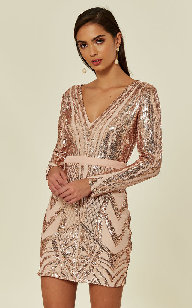 COCO COUTURE VIP ROSE GOLD NUDE SEQUIN BODYCON ILLUSION MINI PARTY DRESS by Nazz Collection