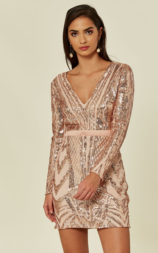 19be23ae Coco Couture Vip Rose Gold Nude Sequin Bodycon Illusion Mini Party Dress
