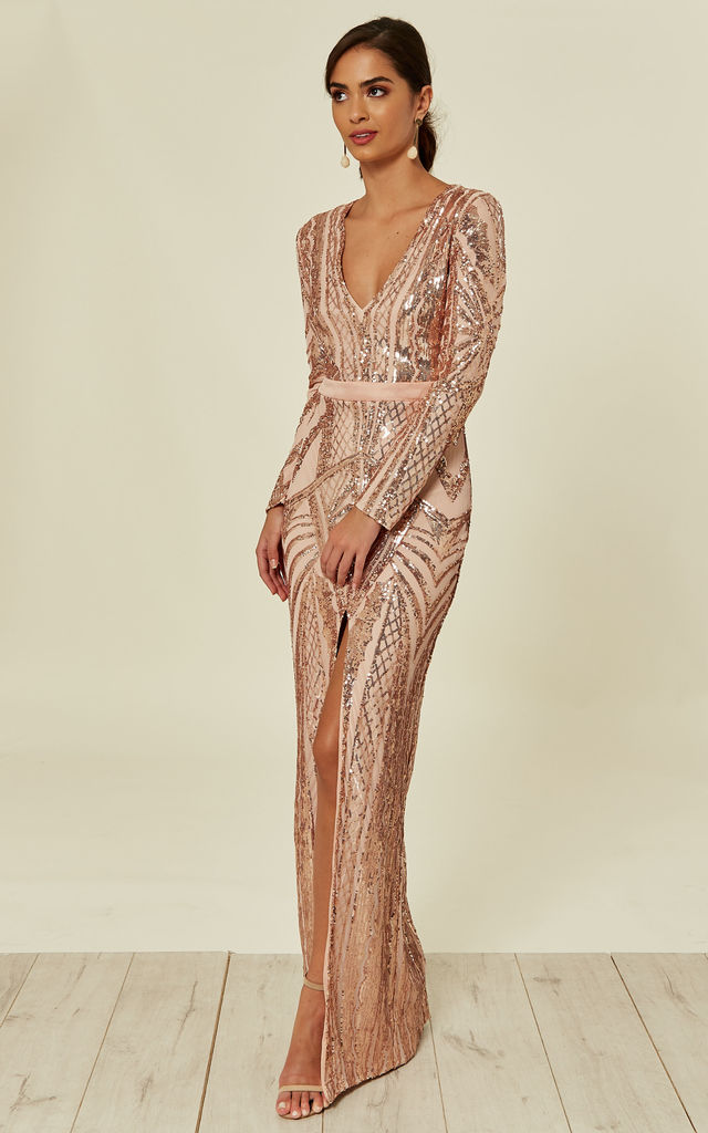 511e32ac3c05 ELITE VIP ROSE GOLD NUDE SEQUIN ILLUSION MIDDLE SLIT MAXI DRESS by Nazz  Collection