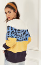 Blue and Yellow Leopard Block Colour Jumper by Lilah Rose