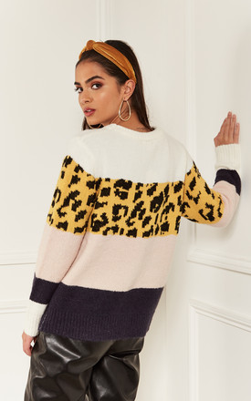 Yellow and Blush Leopard Block colour Jumper by Bella and Blue