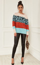Blue and Rust Leopard Block Colour Jumper by Lilah Rose