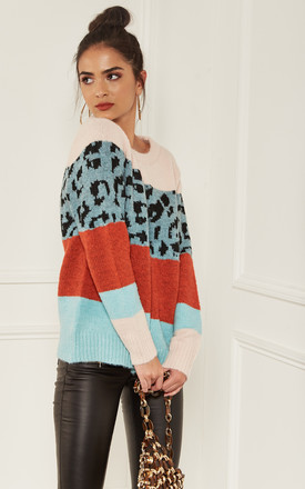 Blue and Rust Leopard Block Colour Jumper by Bella and Blue