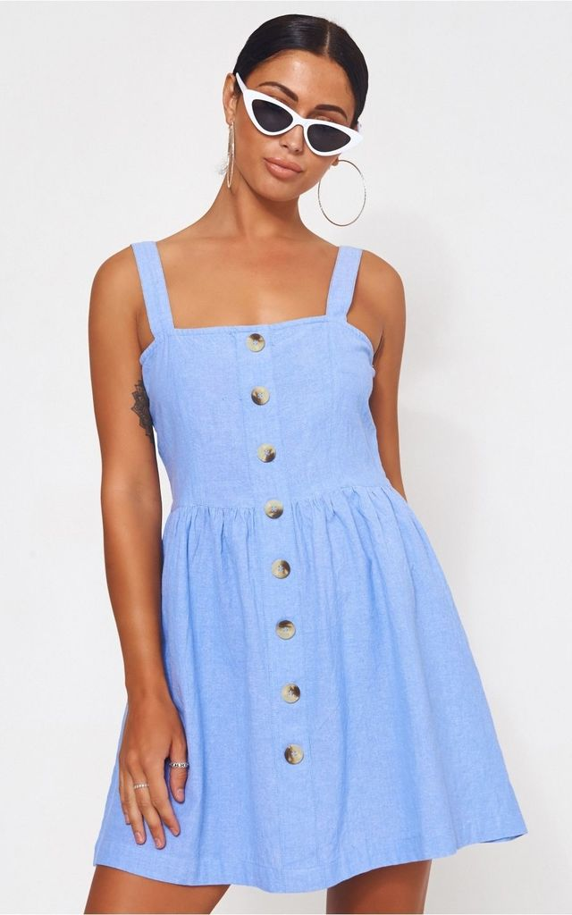 Blue Button Down Sun Dress by The Fashion Bible