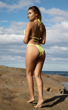 'LULU' YELLOW BRAIDED CRISSCROSS BIKINI WITH STRAP DETAIL by Orphic London