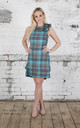 Anna Mini Dress in Turquoise and Grey Tartan by Blonde And Wise