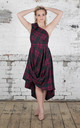 Jessie One Shoulder Dress in Maroon and Green Tartan by Blonde And Wise