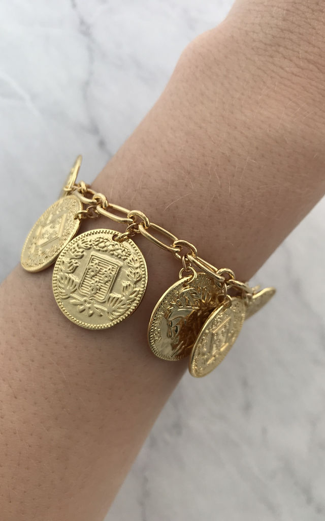 Ultimate Chunky Gold Plated Vintage Style Coin Charm Bracelet by Gold Lunar