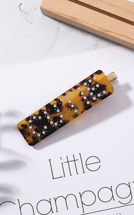 Cutie Hair Clip Acrylic Tortoiseshell Barrette Leopard Print Acrylic by Ajouter Store Product photo