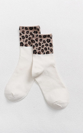 Leopard Print Cuff White Ankle Socks by Ajouter Store Product photo