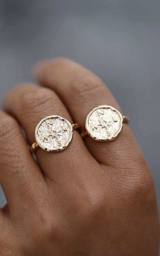 Carmen Gold-tone Hammered Compass Ring by Ajouter Store