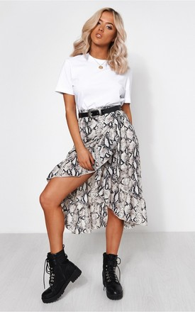 Snakeskin Wrap Frill Midi Skirt by The Fashion Bible Product photo