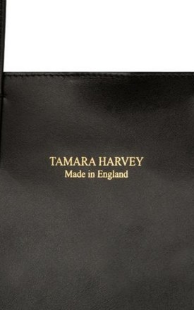 Leather Shopper Tote Bag in Black by Tamara Harvey