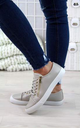 Grey Lace Up Sneakers by Larena Fashion