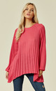 TANA – Pleated Long Sleeve Detail Hot Pink Jumper by Blue Vanilla