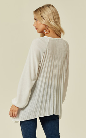TANA – Pleated Long Sleeve Detail White Jumper by Blue Vanilla