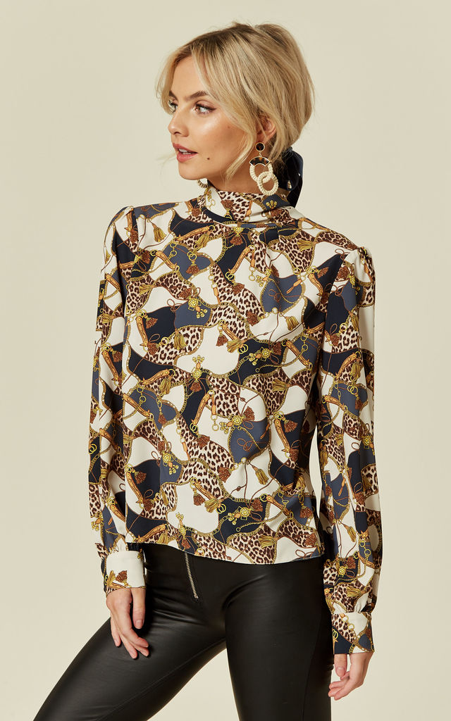 3a304fd5ad092 Luna Leopard Chain Print High Neck Blouse with Pussybow by Love