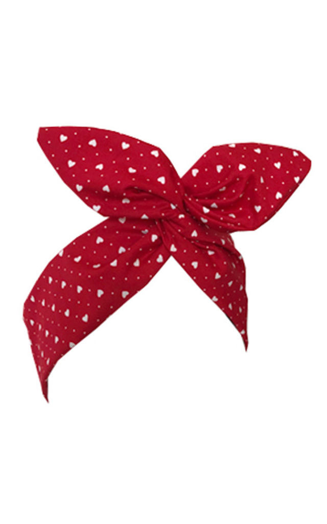 Red & White Mini Love Heart Print Wired Headband by LULU IN THE SKY