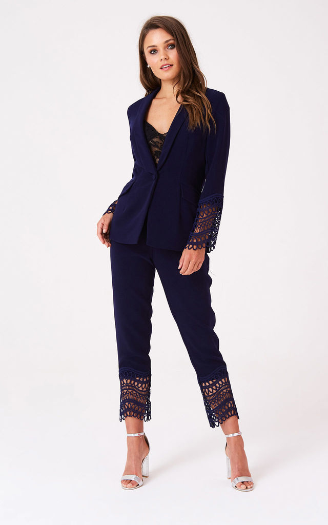 Gaby Navy Crochet Lace Trousers Co-ord by LITTLE MISTRESS