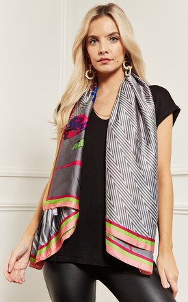 Grey Multi Colour Silky Scarf by Lilah Rose