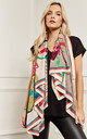 Cream Multi Colour Silky Scarf by Lilah Rose