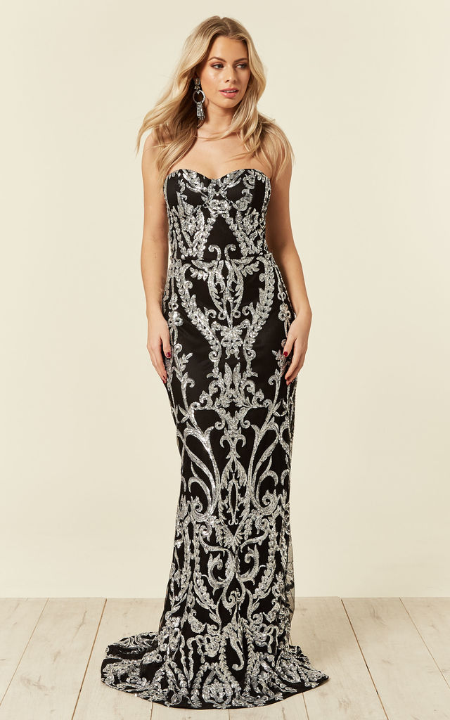 8bc38fe6 LOVE SPELL BLACK SILVER SWEETHEART BROCADE SEQUIN FISHTAIL MERMAID MAXI  DRESS by Nazz Collection