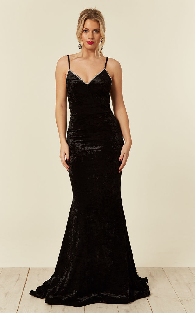 aef21c73866 Irreplaceable Luxe Black Velvet Crystal Sweetheart Fishtail Maxi Gown