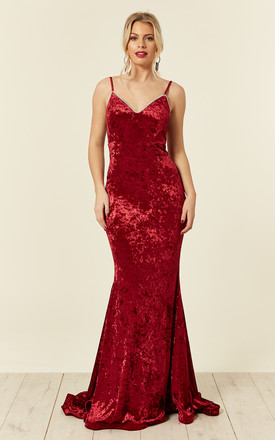 IRREPLACEABLE LUXE BERRY RED VELVET CRYSTAL SWEETHEART FISHTAIL MAXI GOWN by Nazz Collection