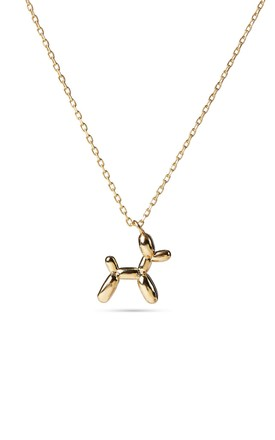 Balloon Dog Pendant Gold Necklace, Sterling Silver Chain by With Bling Product photo