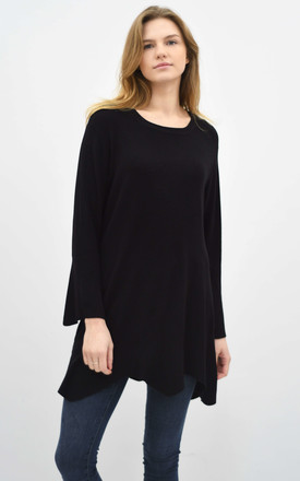 SCALLOPED OVERSIZED TOP with LONG SLEEVES in BLACK by Lucy Sparks