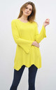 SCALLOPED OVERSIZED TOP with LONG SLEEVES in YELLOW by Lucy Sparks