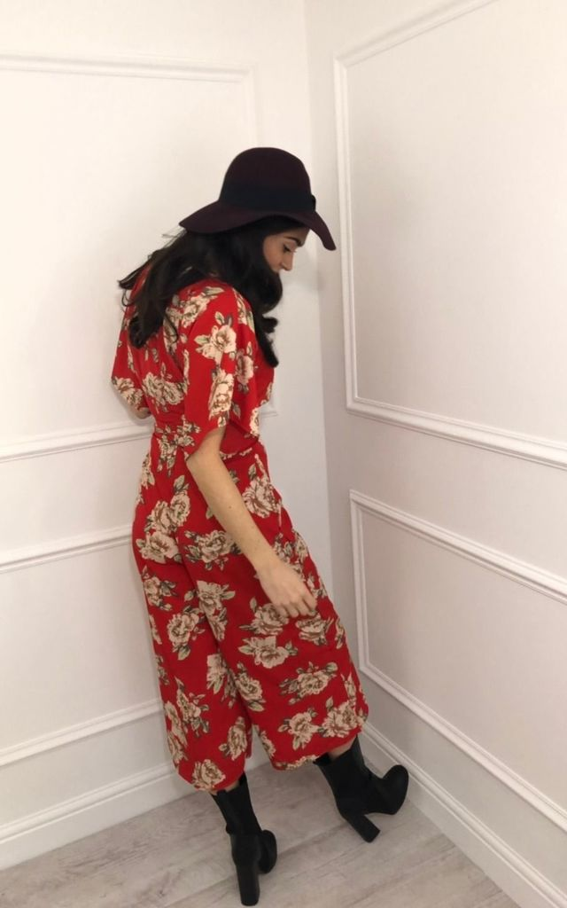 Hattie Red Floral Kimono Sleeve Jumpsuit by LB LONDON