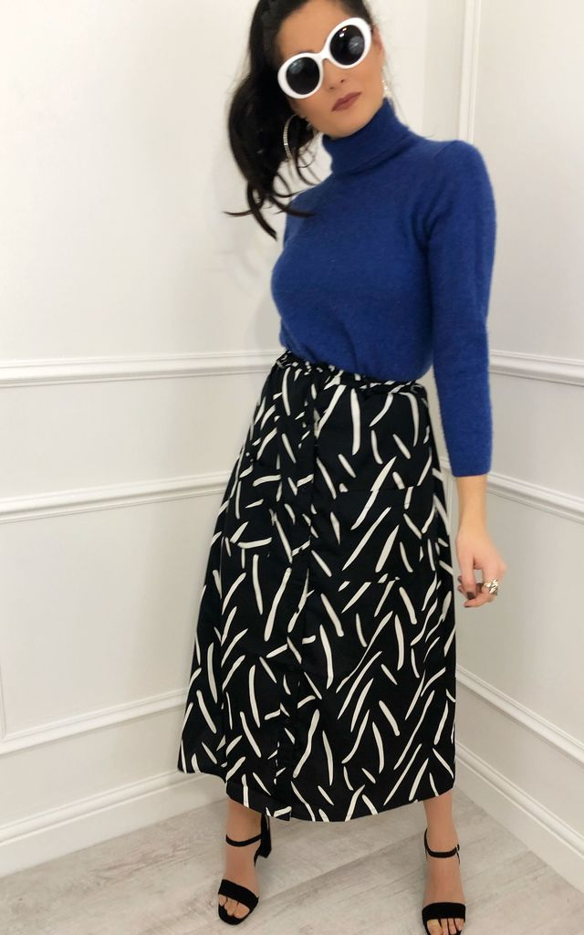 Patsy Mono Abstract Print Midi Skirt by LB LONDON