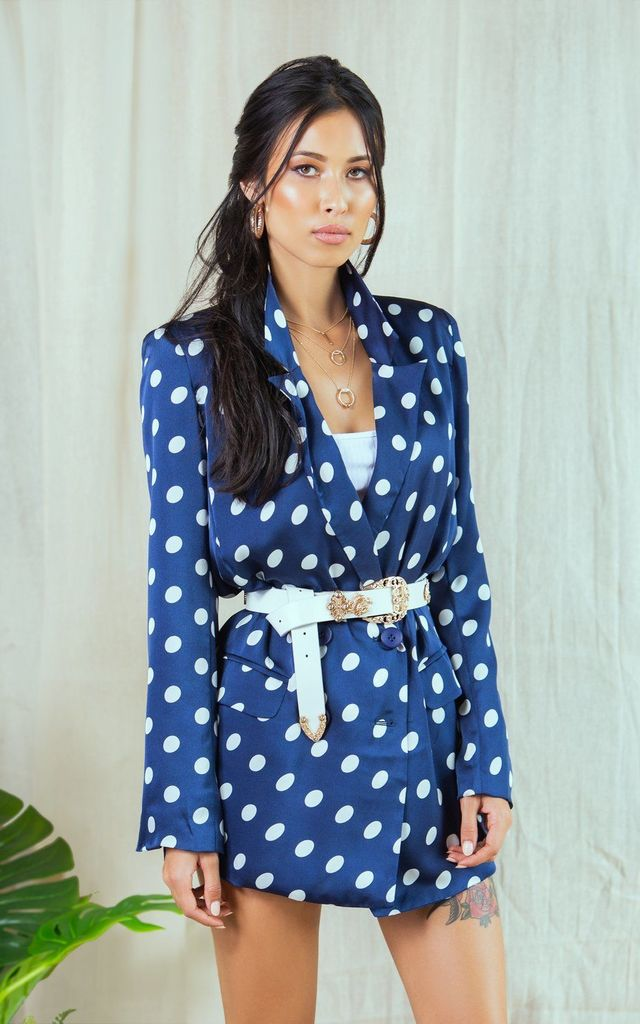 Juliet Navy Longline Polka Dot Blazer by Lavand Stories