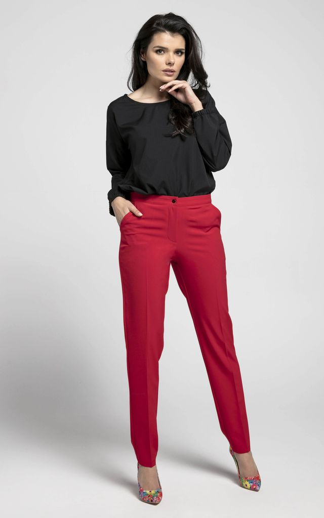 Red Straight Leg Elegant Trousers by Bergamo