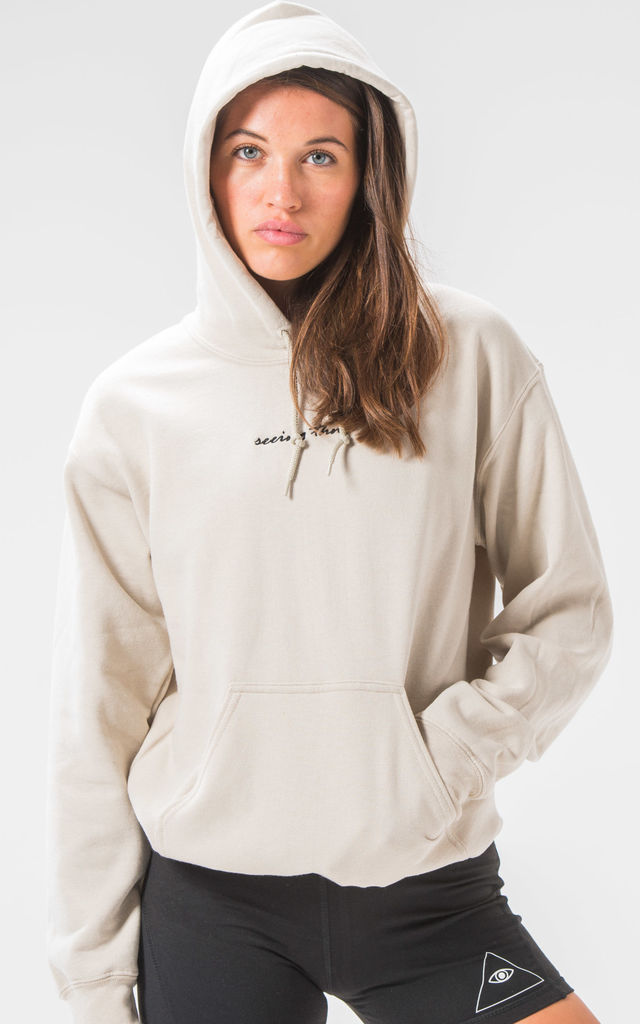 Seeing Thngs Embroidered Hoodie Sand by Seeing Thngs