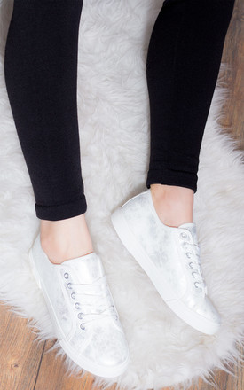 NEVER FEAR Lace Up Flat Trainers Shoes - Silver Leather Style by SpyLoveBuy