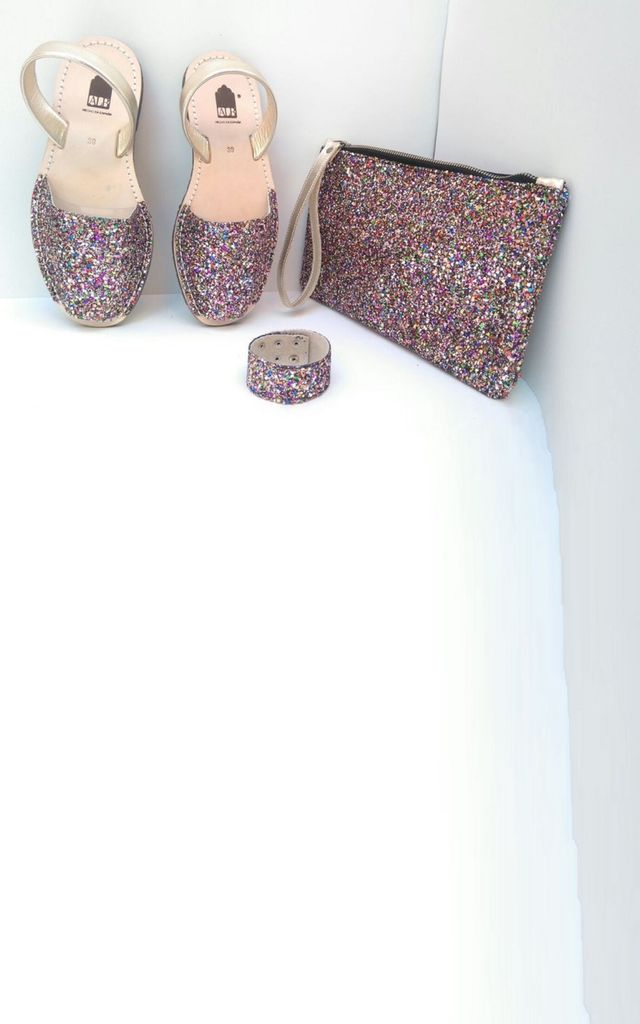 Multi Glitter ALBies Leather Menorcan Sandal by Avenue L Boutique