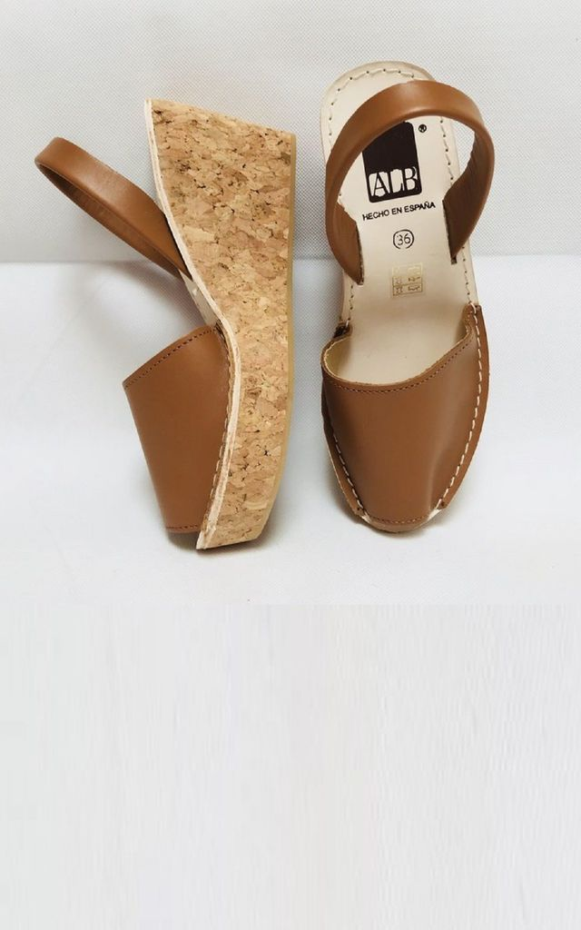 Leather Wedge Sandals in Tan by Avenue L Boutique