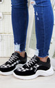 Black Chunky Knit Trainers by Larena Fashion