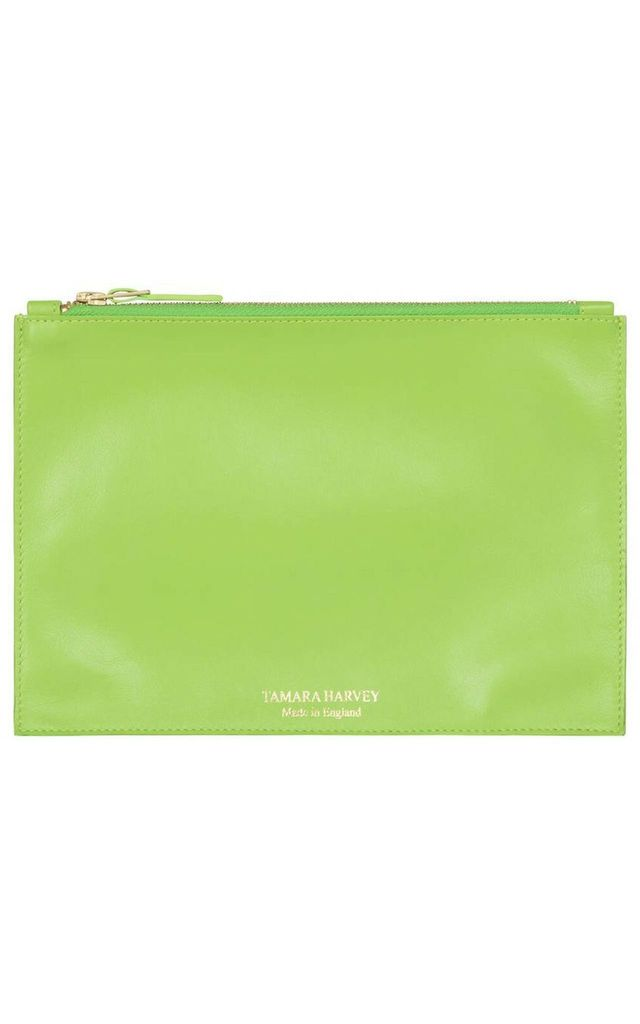 'GRACE' Leather Clutch Bag in Lime Green by Tamara Harvey