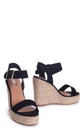 Cuba Black Suede Rope Platform Wedge by Linzi