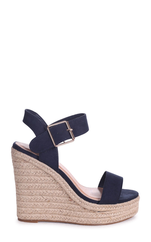 Cuba Navy Suede Rope Platform Wedge by Linzi