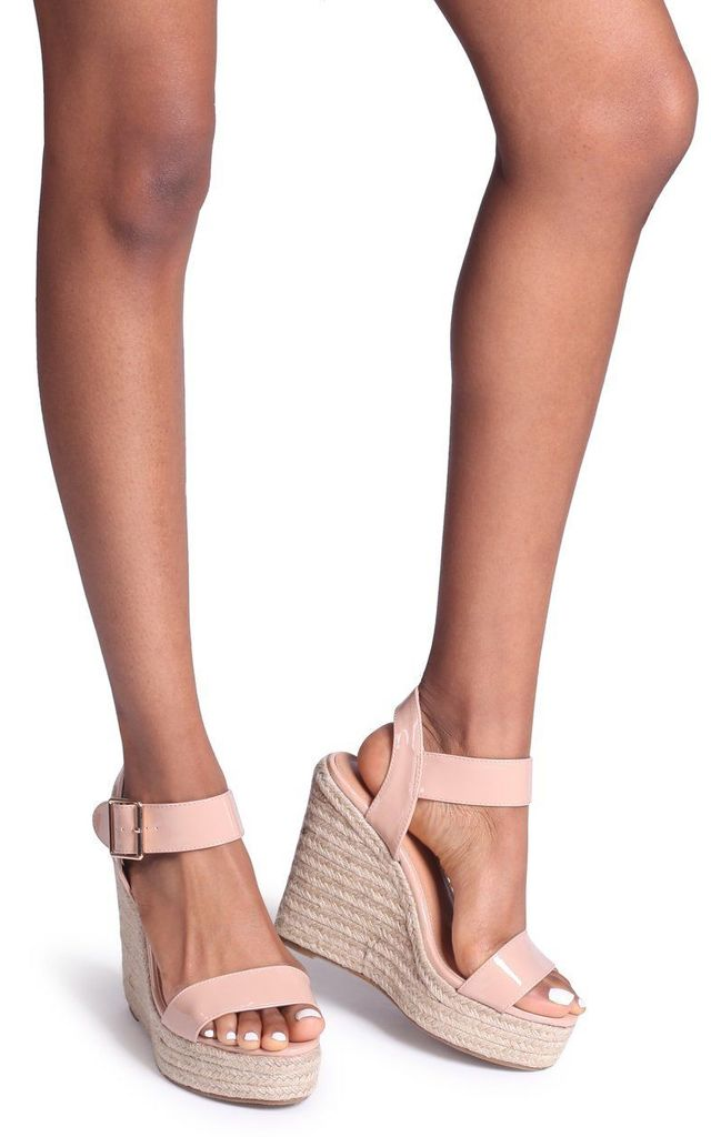 Cuba Nude Patent Rope Platform Wedge by Linzi