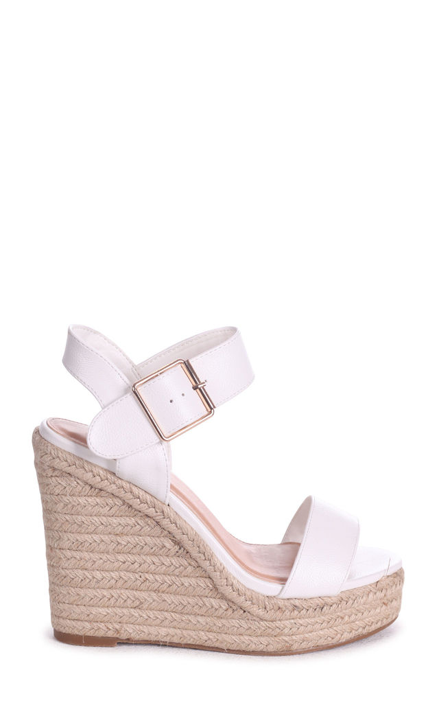 Cuba White Rope Platform Wedge by Linzi