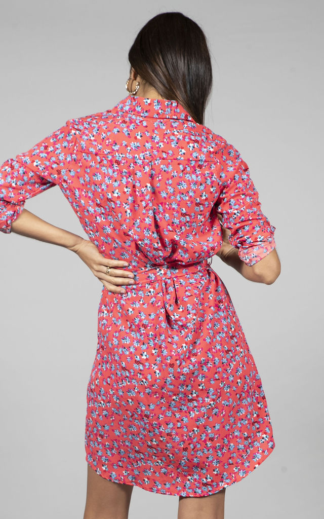 Mini Shirt Dress in Red Ditzy by Dancing Leopard